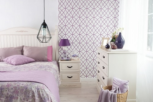 Purple and White Modern Wallpaper Design on Section of Bedroom