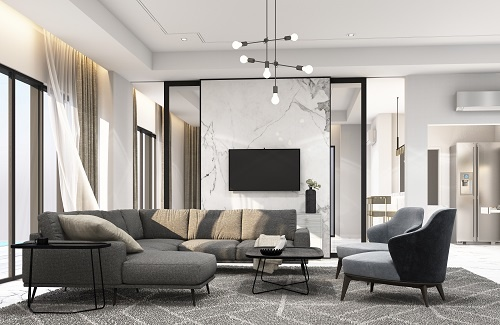 Gray and White Contemporary Living Room